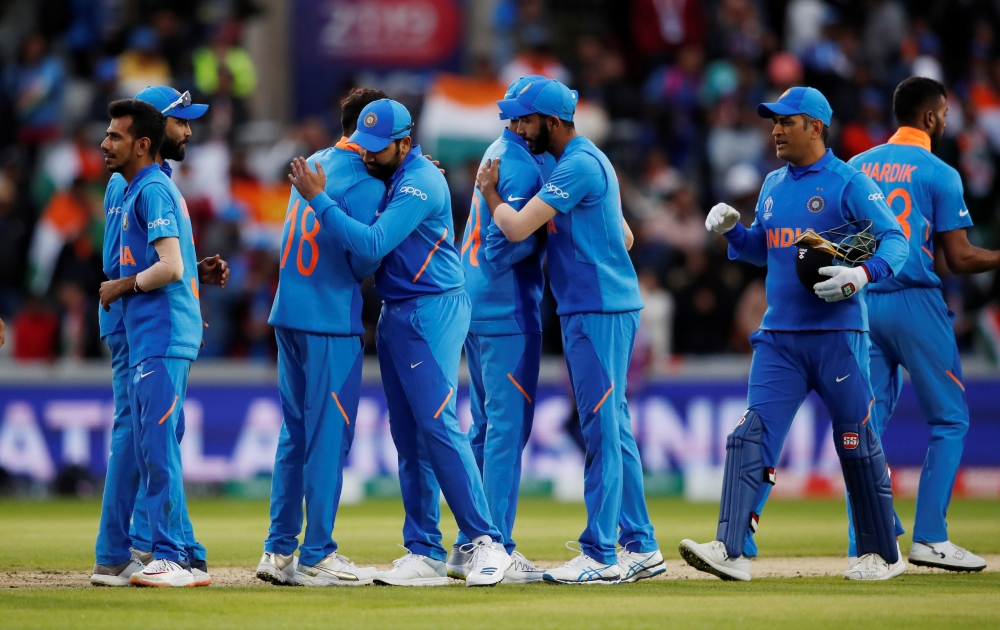 India players celebrate after the match against Pakistan in the ICC Cricket World Cup match against Pakistan at the Emirates Old Trafford, Manchester, Britain on Sunday. — Reuters