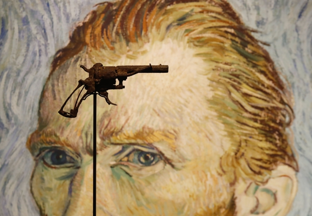 A revolver believed to be the gun Dutch 19th century painter Vincent Van Gogh would have used to kill himself on 27 July 1890 is on public display at Paris' Drouot auction house before it goes under the hammer. — AFP