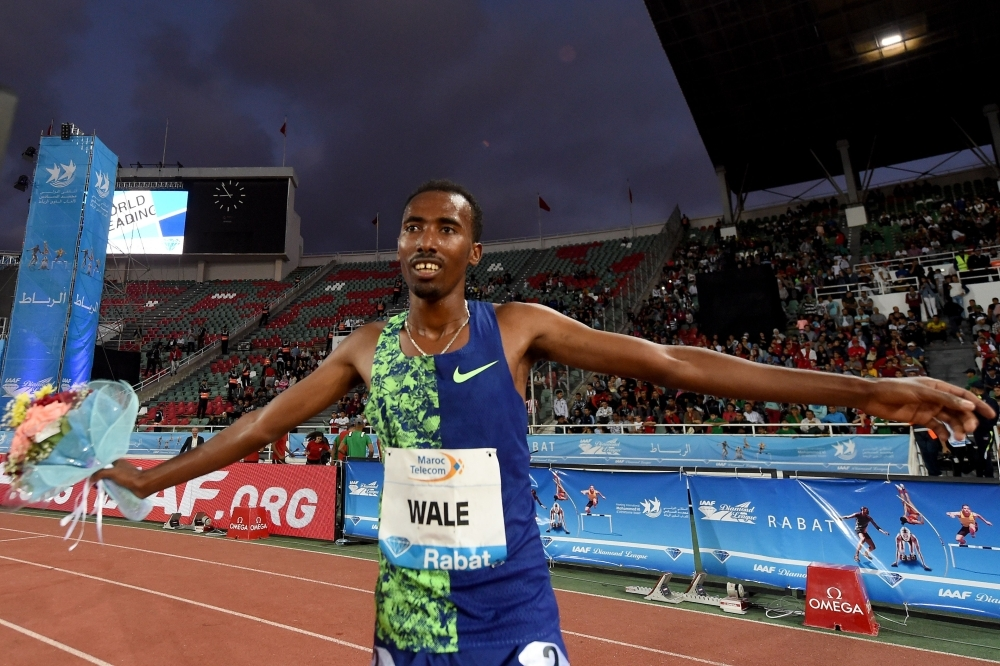 Ethiopia's Getnet Wale celebrates after winning the men's 3,000m steeplechase during the IAAF Diamond League competition on Sunday in Rabat. — AFP