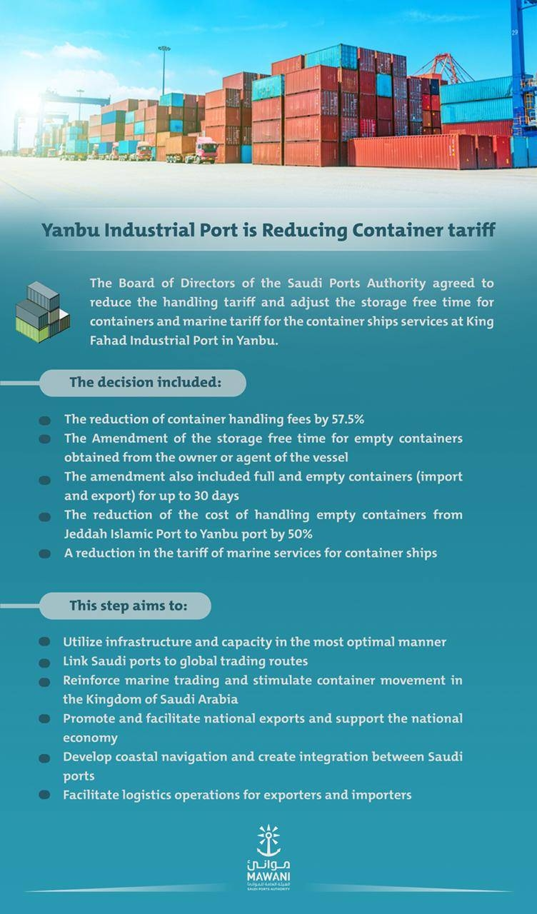 Yanbu Industrial Port cuts its container handling tariff