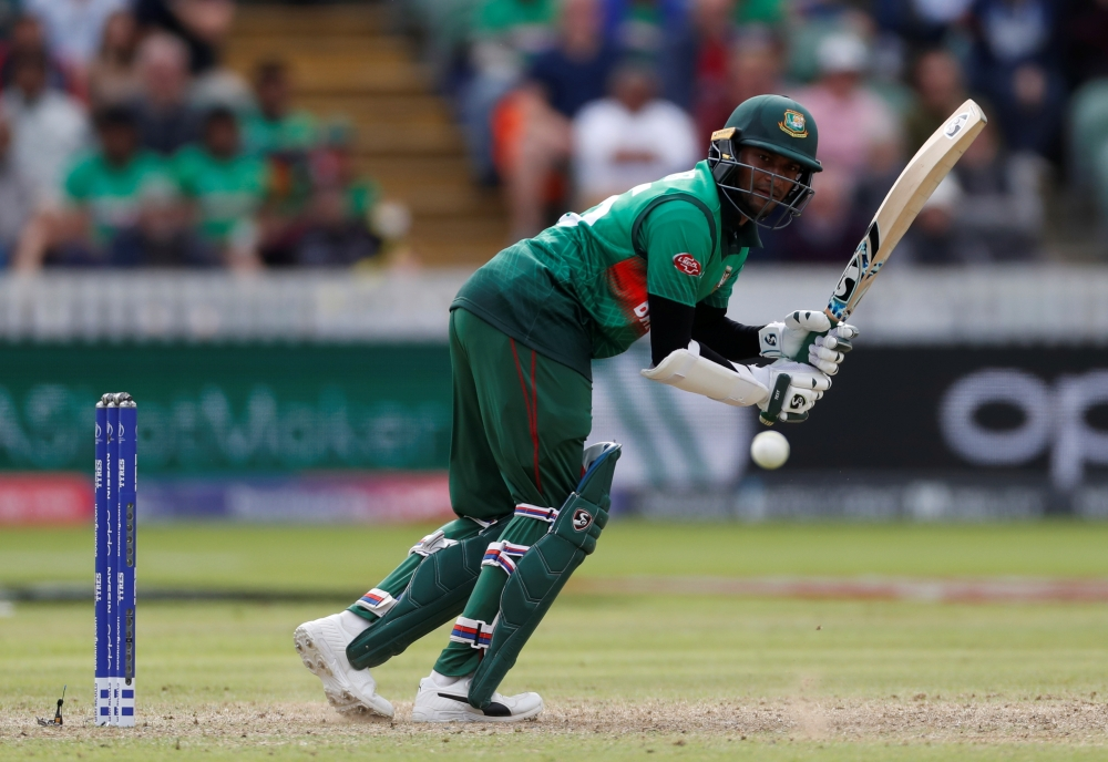 Bangladesh's Shakib Al Hasan in action during the ICC Cricket World Cup match against West Indies at The County Ground, Taunton, Britain, on Monday. — Reuters