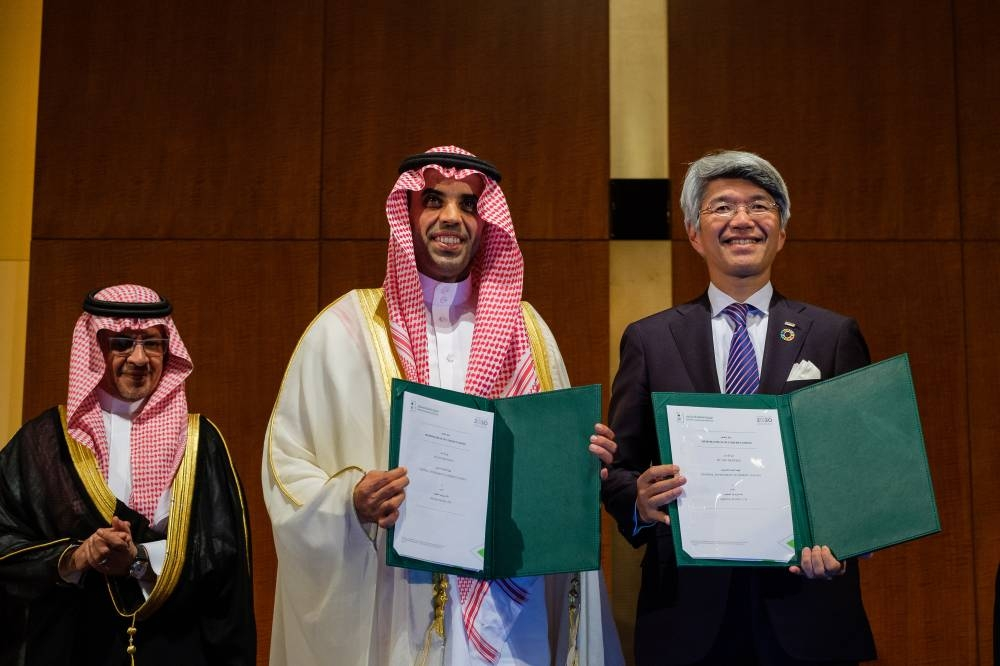Saudi Minister of Economy and Planning Mohammed Al-Tuwaijri and Ibrahim Al Omar, governor of SAGIA (center) during the Saudi-Japan Vision 2030 Business Forum in Tokyo on Monday