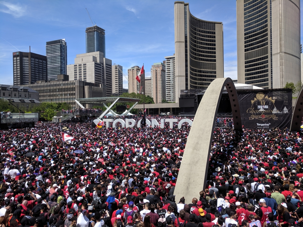 Toronto fans gather in front of the city hall during the Toronto Raptors NBA Championship celebration parade at Nathan Phillips Square in Toronto, Ontario, Canada, on Monday. — Reuters
