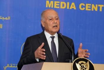 Arab League Secretary General Ahmed Aboul Gheit gives a press conference at in the Sudanese capital Khartoum on Sunday. — AFP