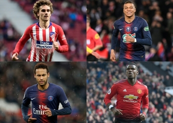 This combination of pictures shows four key football players in this summer football transfer market, (From Top left to bottom right) Atletico Madrid's French forward Antoine Griezmann, Paris Saint-Germain's French forward Kylian Mbappe, Paris Saint-Germain's Brazilian forward Neymar, and Manchester United's French midfielder Paul Pogba. — AFP   - RESTRICTED TO EDITORIAL USE  / AFP / JAVIER SORIANO AND Anne-Christine POUJOULAT AND Lionel BONAVENTURE AND Paul ELLIS / RESTRICTED TO EDITORIAL USE