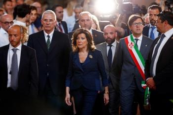 Italian Senate President Maria Elisabetta Alberti Casellati attends a tribute ceremony to Zeffirelli's coffin in Florence, Italy, Monday. Zeffirelli died on Saturday at the age of 96. — Reuters