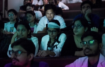 Indian doctors of All India Institute of Medical Science (AIIMS) watch the live streaming of the press conference of West Bengal Chief Minister Mamata Banerjee during a nationwide doctors strike in New Delhi on Monday. — AFP