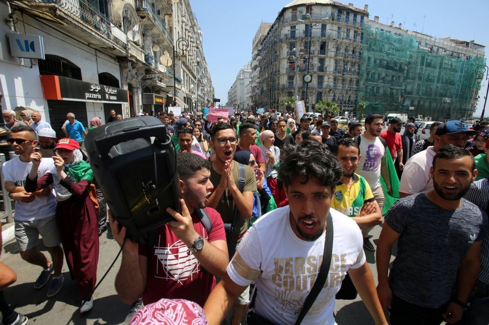 Students march during an anti-government protest in Algiers, Algeria, on Tuesday. — Reuters
