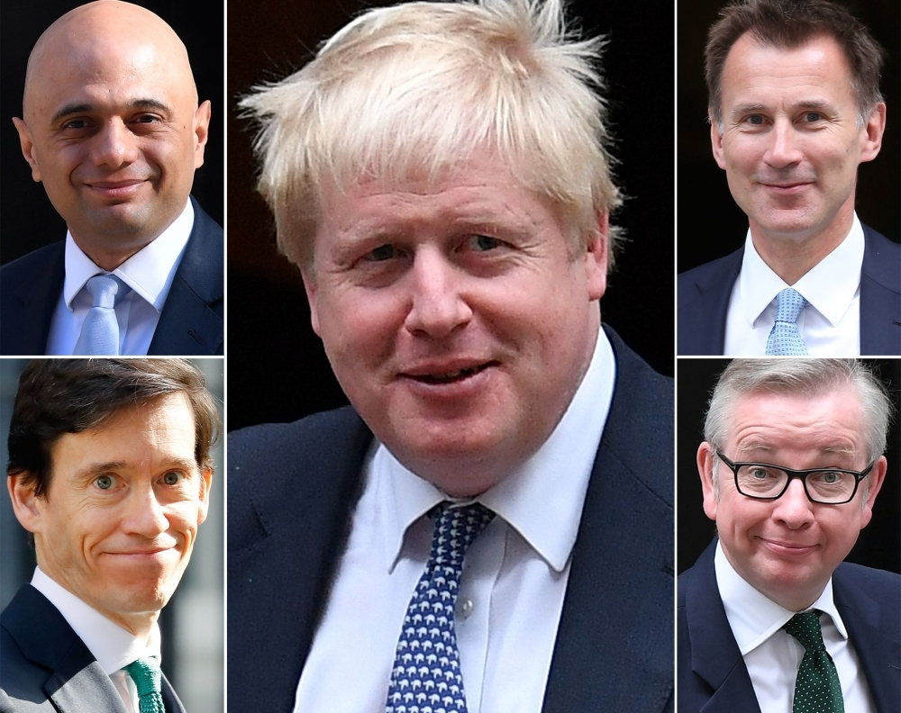 A combination of pictures created in London on Tuesday shows the remaining five contenders in the contest for leader of the Conservative party: the leading contender former foreign secretary Boris Johnson, center, and (top left to right) Britain's Home Secretary Sajid Javid, Britain's Foreign Secretary Jeremy Hunt (bottom left to right) Britain's International Development Secretary Rory Stewart and Britain's Environment, Food and Rural Affairs Secretary Michael Gove. — AFP