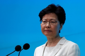 Hong Kong Chief Executive Carrie Lam attends a news conference in Hong Kong, Tuesday. — Reuters