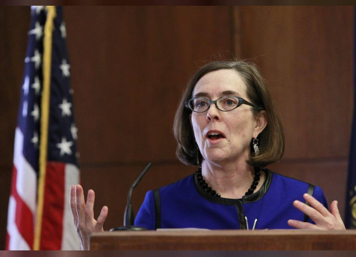 In this file photo, Oregon Governor Kate Brown speaks at the state capital building in Salem, Oregon, February 20, 2015. - Reuters