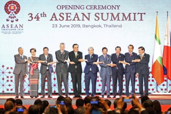 ASEAN leaders shake hands on stage during the opening ceremony of the 34th ASEAN Summit at the Athenee Hotel in Bangkok, Thailand on Sunday. – Reuters