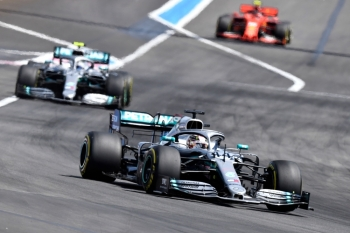Mercedes' British driver Lewis Hamilton (front) leads ahead of Mercedes' Finnish driver Valtteri Bottas and Ferrari's Monegasque driver Charles Leclerc during the Formula One Grand Prix de France at the Circuit Paul Ricard in Le Castellet, southern France, on Sunday. — AFP