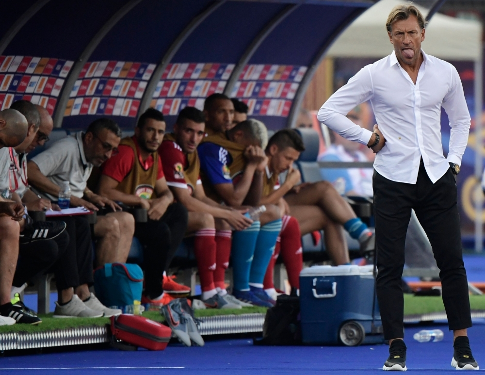 Morocco's coach Herve Renard looks on during the 2019 Africa Cup of Nations (CAN) football match against Namibia at the Al Salam Stadium in Cairo on Sunday. — AFP