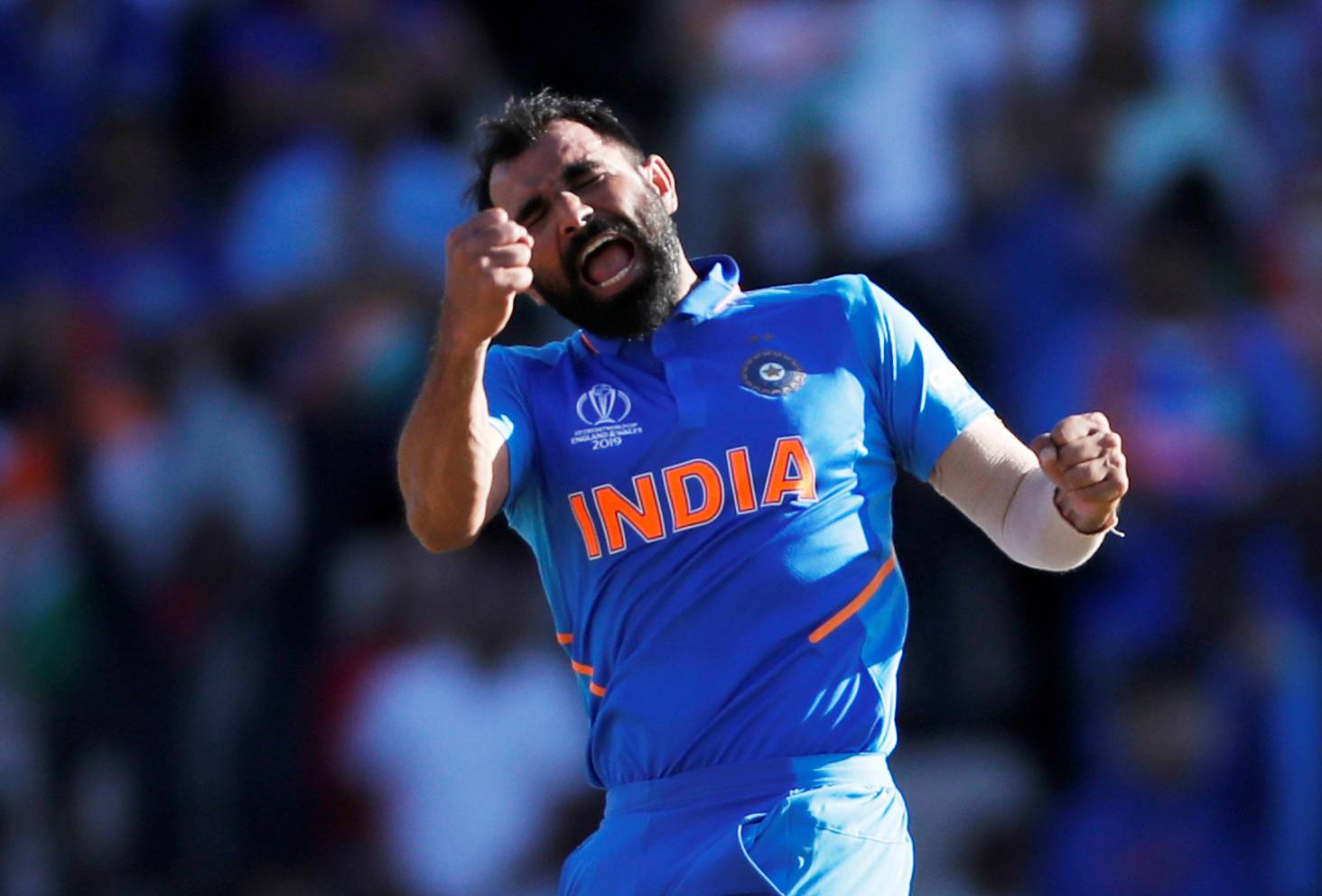 India's Mohammed Shami celebrates taking the wicket of Afghanistan's Aftab Alam during the ICC Cricket World Cup match at The Ageas Bowl, Southampton, Britain, on Saturday. — Reuters
