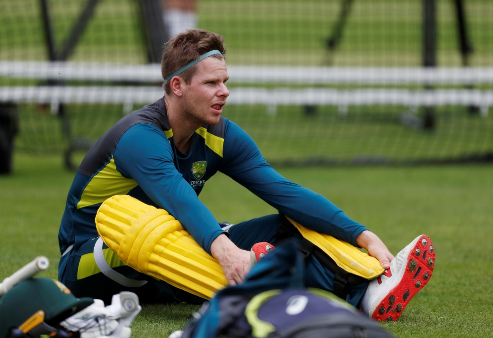 Australia's Steve Smith during ICC Cricket World Cup  nets at the Lord's Cricket Ground, London, Britain, on Monday. — Reuters