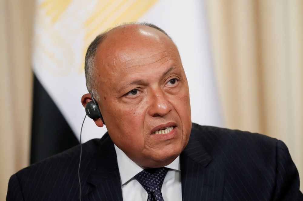 Egypt's Foreign Minister Sameh Shoukry and Russia's Foreign Minister Sergei Lavrov, not seen, attend a news conference in Moscow on Monday. — Reuters