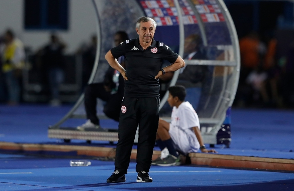Tunisia's coach Alain Giresse looks on during the 2019 Africa Cup of Nations (CAN) football match between Tunisia and Angola at the Suez Stadium in Suez, Egypt, on Monday. — AFP