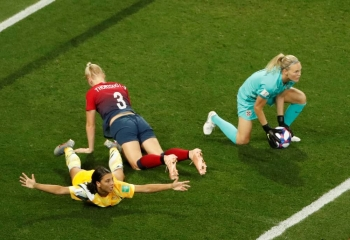 Australia's Sam Kerr in action with Norway's Maria Thorisdottir and Norway's Ingrid Hjelmseth during the Women's World Cup round of 16  match at the Allianz Riviera, Nice, France, on Saturday. — Reuters