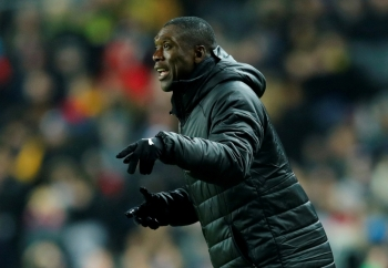 Cameroon coach Clarence Seedorf seen in this Nov. 20, 2018 file photo during the International friendly against  Brazil v Cameroon at the Stadium MK, Milton Keynes, Britain. — Reuters