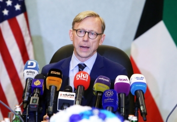Brian Hook, the US Special Representative for Iran, speaks during a press conference in Kuwait City. — AFP