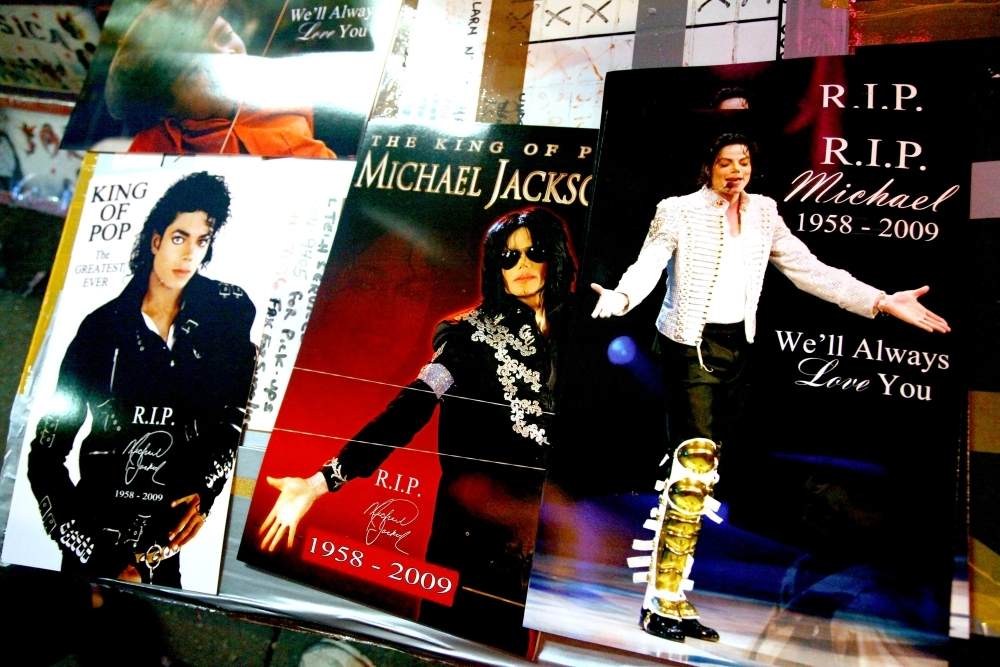 In this file photo taken on June 27, 2009 Michael Jackson memorabilia is on display for sale at Times Square in New York City.  — AFP