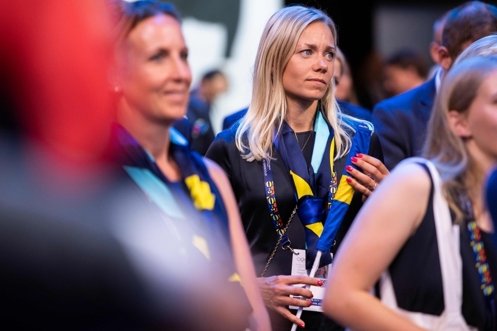 Member of the delegation from Stockholm/Are 2026 Winter Olympics, Swedish former Alpine skier Frida Hansdotter reacts after the city was not elected to host the 2026 Olympic Winter Games during the 134th session of the International Olympic Committee (IOC), in Lausanne on Monday. — AFP