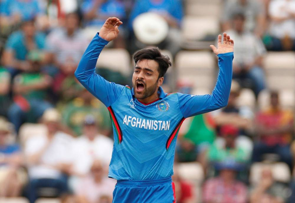 Afghanistan's Rashid Khan reacts during the ICC Cricket World Cup match against Bangladesh at The Ageas Bowl, Southampton, Britain on Monday. — Reuters