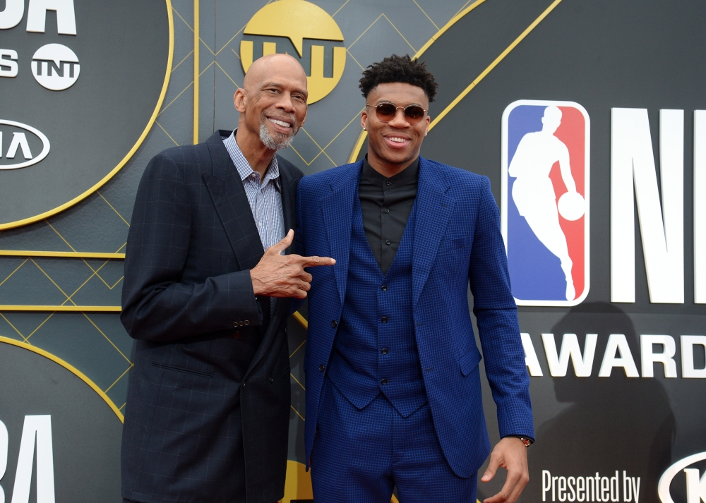 Milwaukee Bucks forward Giannis Antetokounmpo poses with former player Kareem Abdul-Jabbar arrives on the red carpet for the 2019 NBA Awards show at Barker Hanger. — Reuters