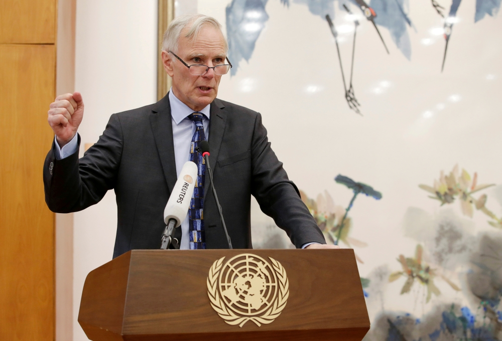 Philip Alston, the UN's special rapporteur on extreme poverty and human rights, attends a news conference in Beijing, in this Aug. 23, 2016 file photo. — Reuters