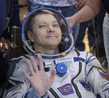 This handout photo released by NASA shows Expedition 59 crew member Oleg Kononenko of Roscosmos outside the Soyuz MS-11 spacecraft after he, NASA astronaut Anne McClain, and Canadian Space Agency astronaut David Saint-Jacques landed in a remote area near the town of Dzhezkazgan, Kazakhstan on Tuesday. - AFP