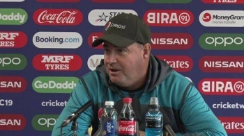 Pakistan Head coach Mickey Arthur speeking on Sunday prior to the ICC World Cup match against India in Manchester.