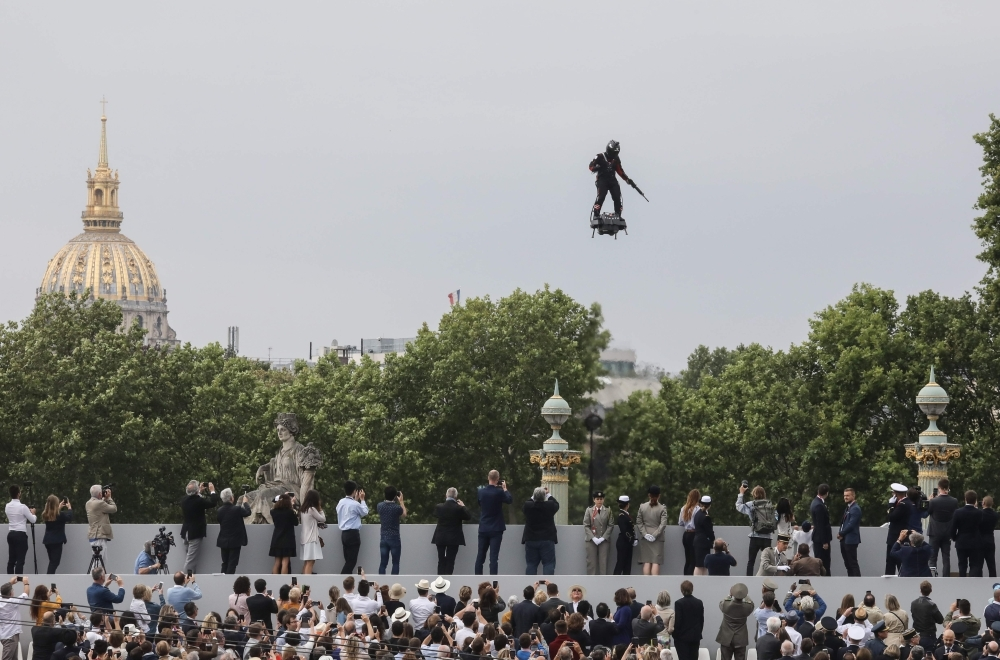 Zapata CEO Franky Zapata flies a jet-powered hoverboard or