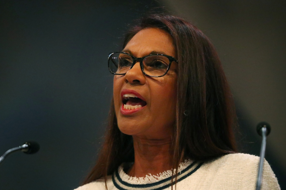 Anti-Brexit campaigner Gina Miller addresses the audience at the Liberal Democrats Conference in Brighton, Britain, September 17, 2018. -Reuters