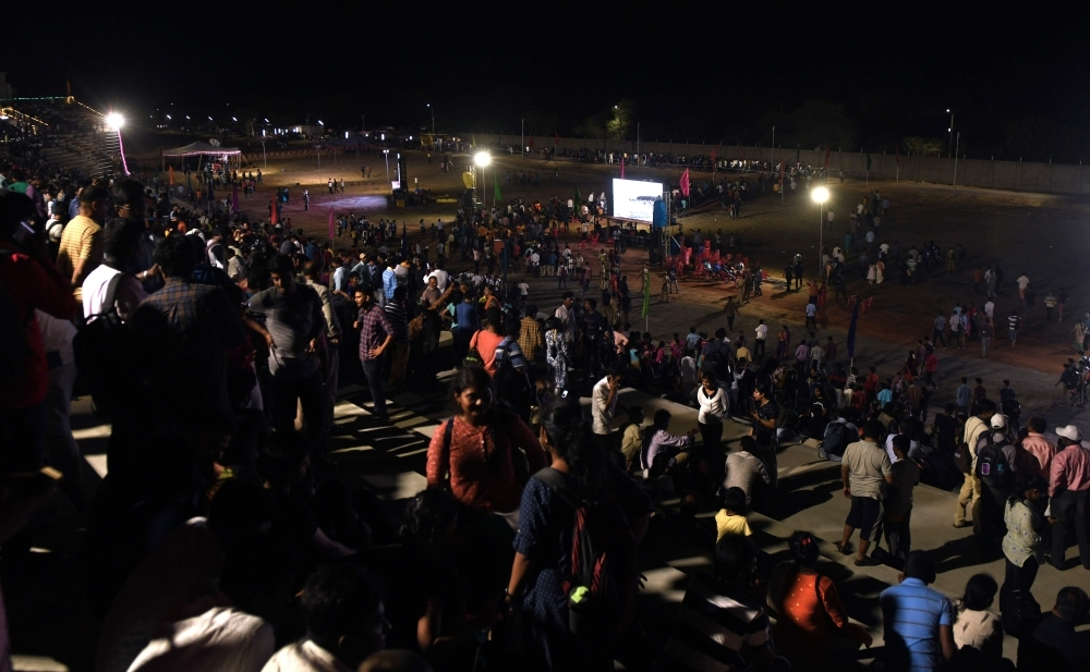 Spectators disperse after a mission of the Indian Space Research Organisation's (ISRO) Chandrayaan-2, with the Geosynchronous Satellite Launch Vehicle (GSLV-mark III-M1) on board, was scrubbed due to a technical snag in Sriharikota in the state of Andhra Pradesh, India in the early hours of the day on Monday. — AFP