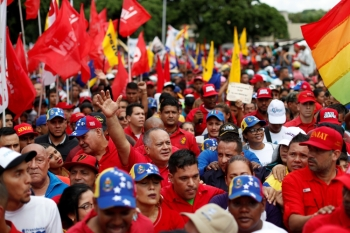 Venezuela's National Constituent Assembly President Diosdado Cabello takes part in a rally against the report of UN High Commissioner for Human Rights Michelle Bachelet, in Caracas on Saturday. -Reuters