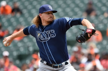 Ryne Stanek of the Tampa Bay Rays pitches during the first inning against the Baltimore Orioles at Oriole Park at Camden Yards in Baltimore, Maryland, on Sunday. — AFP