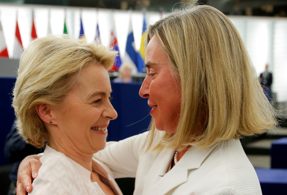 Elected European Commission President Ursula von der Leyen is congratulated by European Union High Representative for Foreign Affairs and Security Policy Federica Mogherini after a vote on her election at the European Parliament in Strasbourg, France, on Tuesday. — Reuters