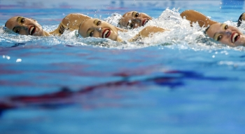 Team Italy competes in the 18th FINA World Swimming Championships at Yeomju Gymnasium, Gwangju, South Koreaon Wednesday. — Reuters