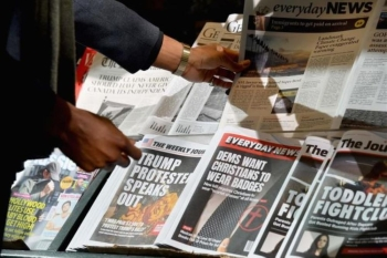 A file photo of a misinformation newsstand in midtown Manhattan, aiming to educate news consumers about the dangers of disinformation, or fake news, in the lead-up to the US midterm elections. Experts discussed how to train tomorrow's reporters for new 'deep fake' and fake news challenges at the World Journalism Education Congress in Paris last week. — AFP