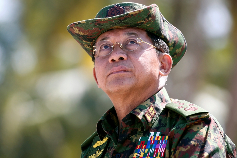 Myanmar military commander-in-chief, Senior General Min Aung Hlaing, attends a military exercise at Ayeyarwaddy delta region in Myanmar, February 3, 2018. -Reuters photo