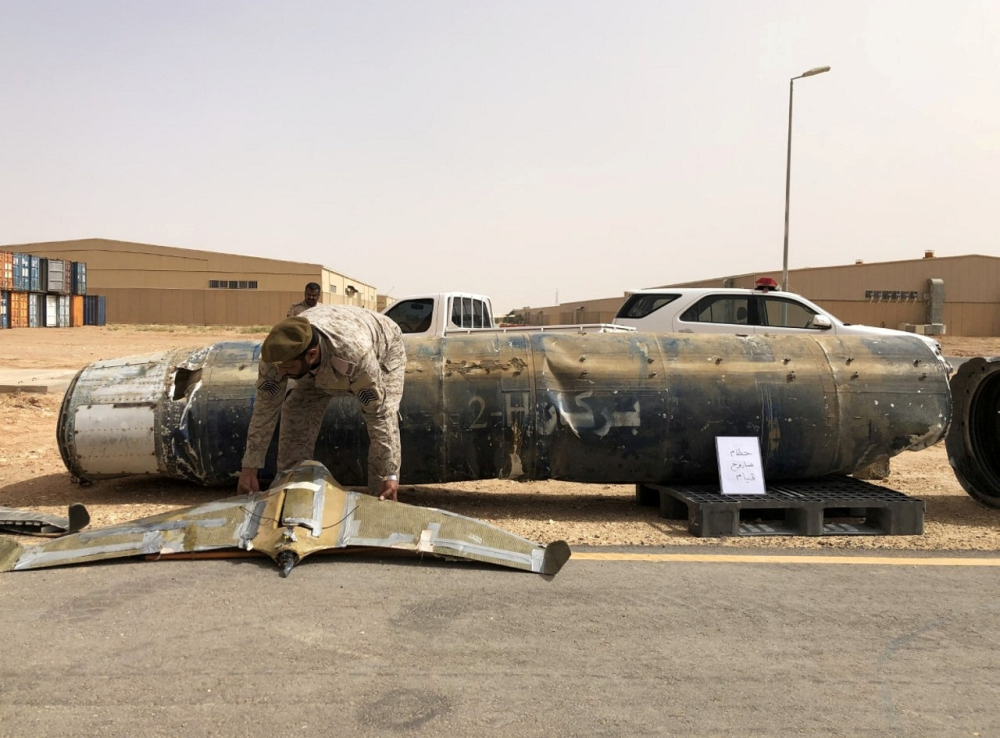 A projectile and a drone launched at Saudi Arabia by Yemen's Houthis are displayed at a Saudi military base, Al-Kharj, Saudi Arabia, in this June 21, 2019 file photo. — Reuters