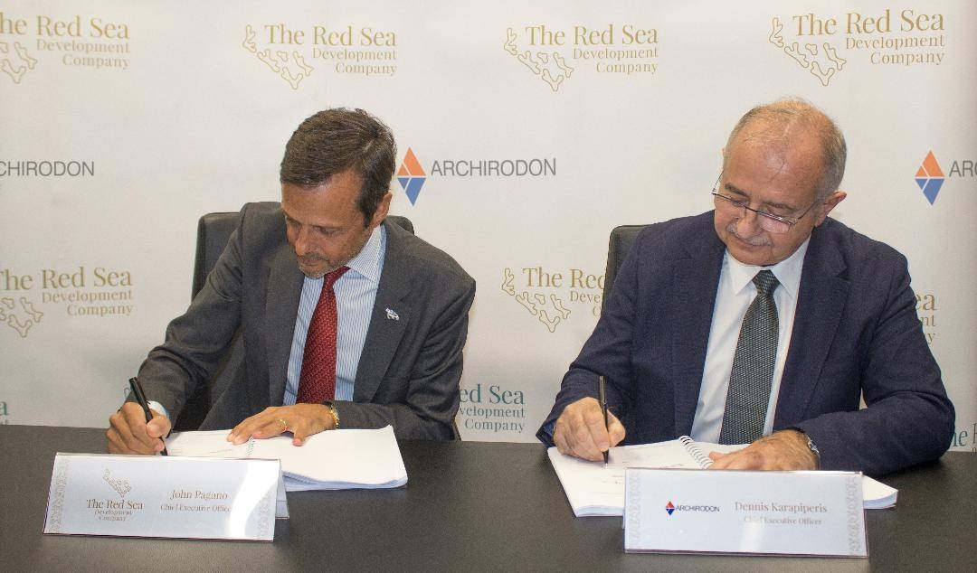 Representatives of The Red Sea Development Company (TRSDC) and Archirodon signing a contract, Wednesday. — Courtesy photo