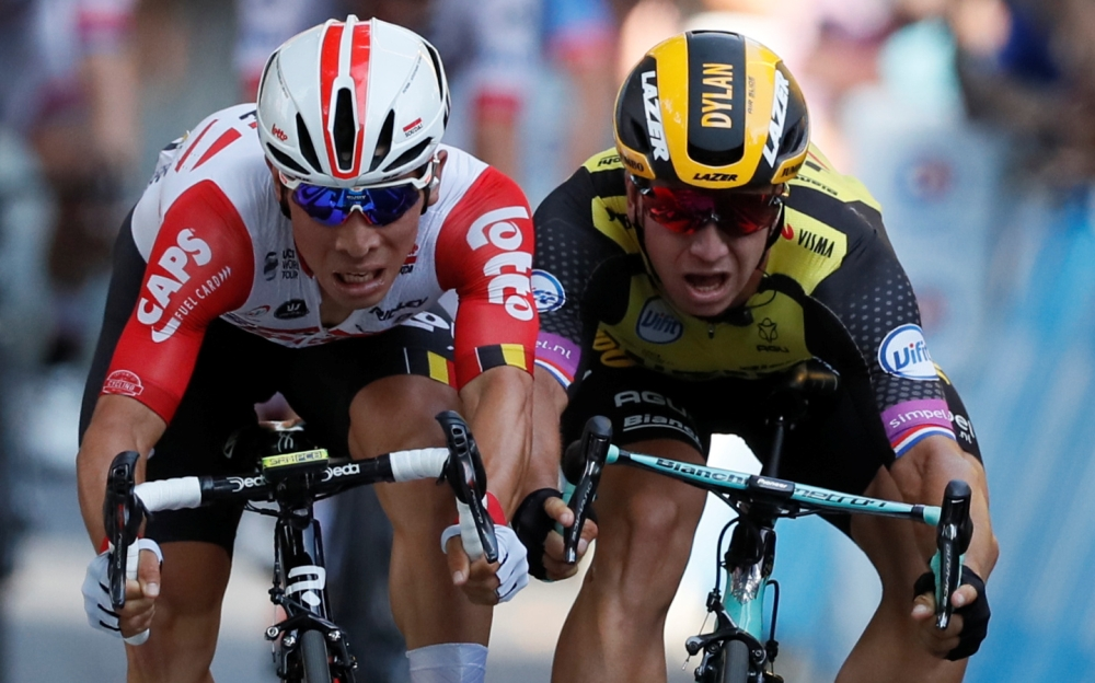 Lotto Soudal rider Caleb Ewan of Australia (left) edges out Team Jumbo-Visma rider Dylan Groenewegen of the Netherlands to win his first Tour de France Stage 11 from Albi to Toulouse, on Wednesday. — Reuters