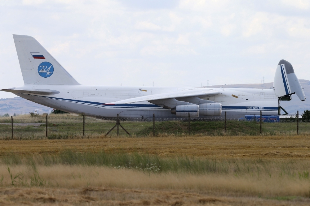 A Russian Antonov military cargo plane, carrying S-400 missile defense system from Russia, is unloaded after landing at the Murted military airbase (also known as Akincilar military airbase), in Ankara in this July 12, 2019 file photo. — AFP