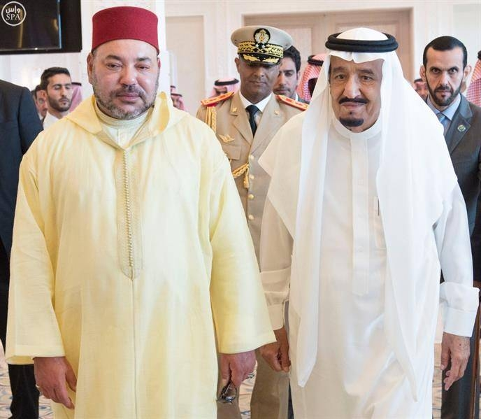 The Custodian of the Two Holy Mosques King Salman and King Muhammad VI of the Kingdom of Morocco.