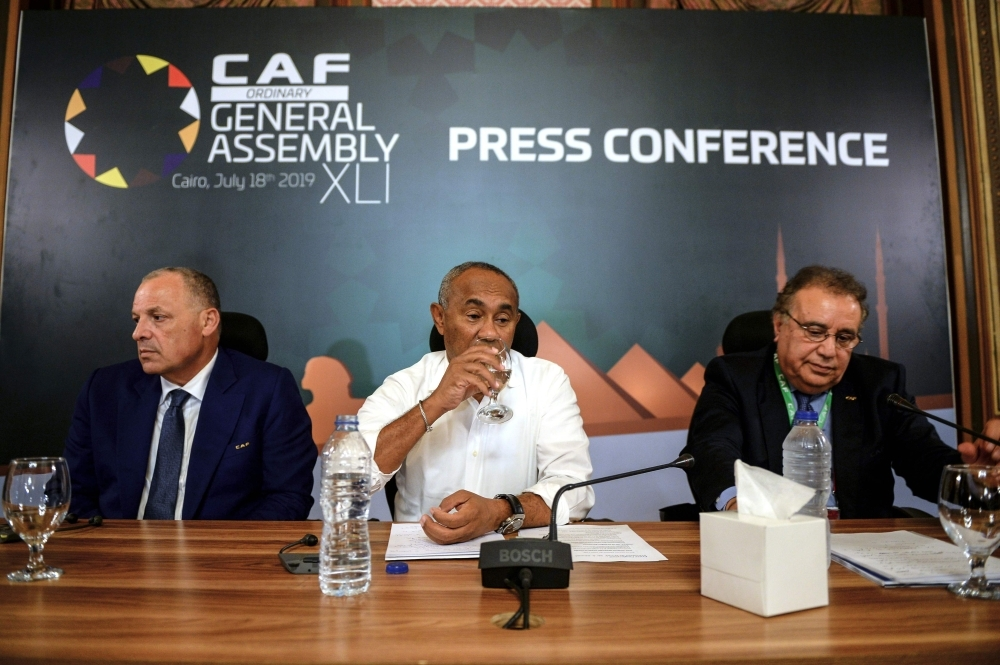 Confederation of African Football (CAF) President Ahmad Ahmad (C) attends a press conference in Cairo on Thursday on the eve of the 2019 football Africa Cup of Nations (CAN) Final between Senegal and Algeria. — AFP