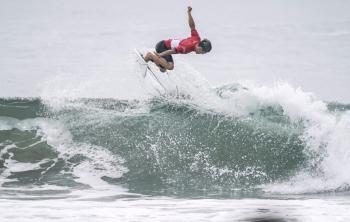 Shun Murakami of Japan competes during a Tokyo 2020 Olympics surfing test event at at Tsurigasaki-kaigan beach, also known as Shidashita beach inIchinomiya Town, Chiba prefecture, Japan, on Thursday, in this photo taken by Kyodo. — Reuters