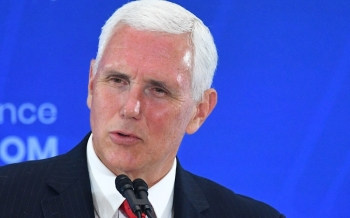 US Vice President Mike Pence speaks during the second Ministerial to Advance Religious Freedom in the Loy Henderson Auditorium of the State Department in Washington on Thursday. — AFP