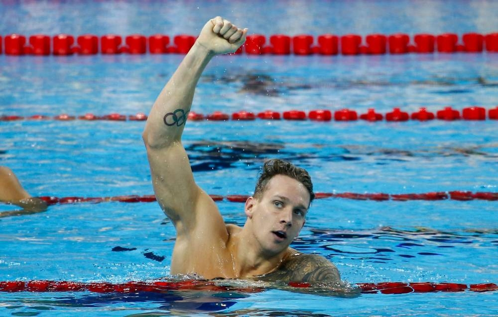 In this file photo taken on Dec. 16, 2018, Caeleb Dressel of the US reacts after winning the men's 100m freestyle final at the 14th FINA World Swimming Championships in Hangzhou in China's eastern Zhejiang province. — AFP